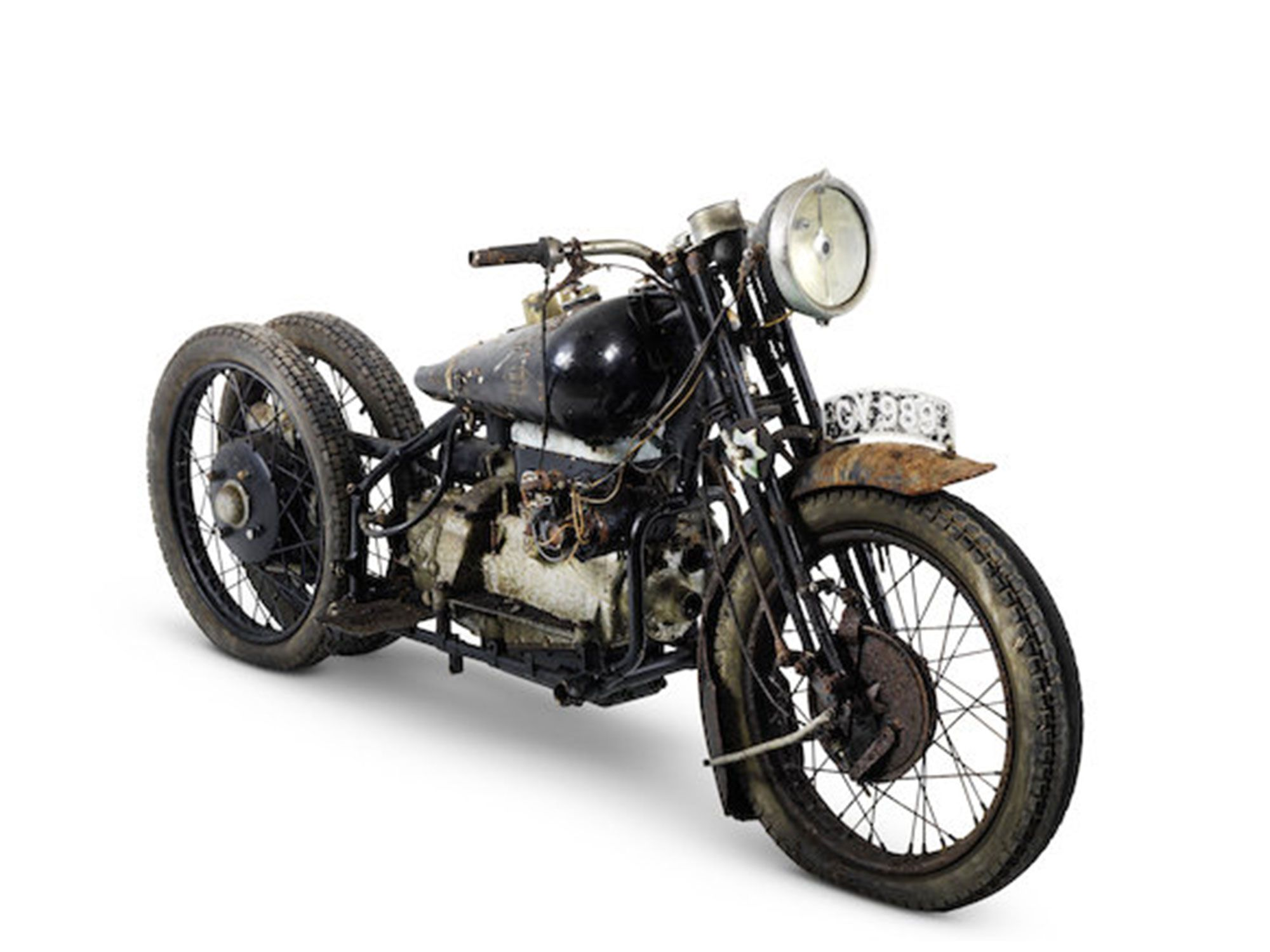 11. Back to Broughs? Yep, but this rough roller four-cylinder is one of only 10 made. Yes, three wheels!