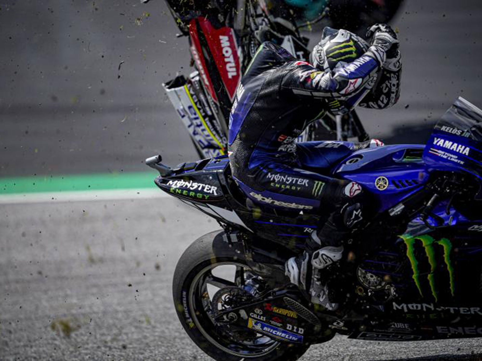 How close was Johan Zarco's Ducati to Maverick Viñales? Close enough that the seasoned professional let go of the handlebars—a clear indication he thought a contact was imminent.