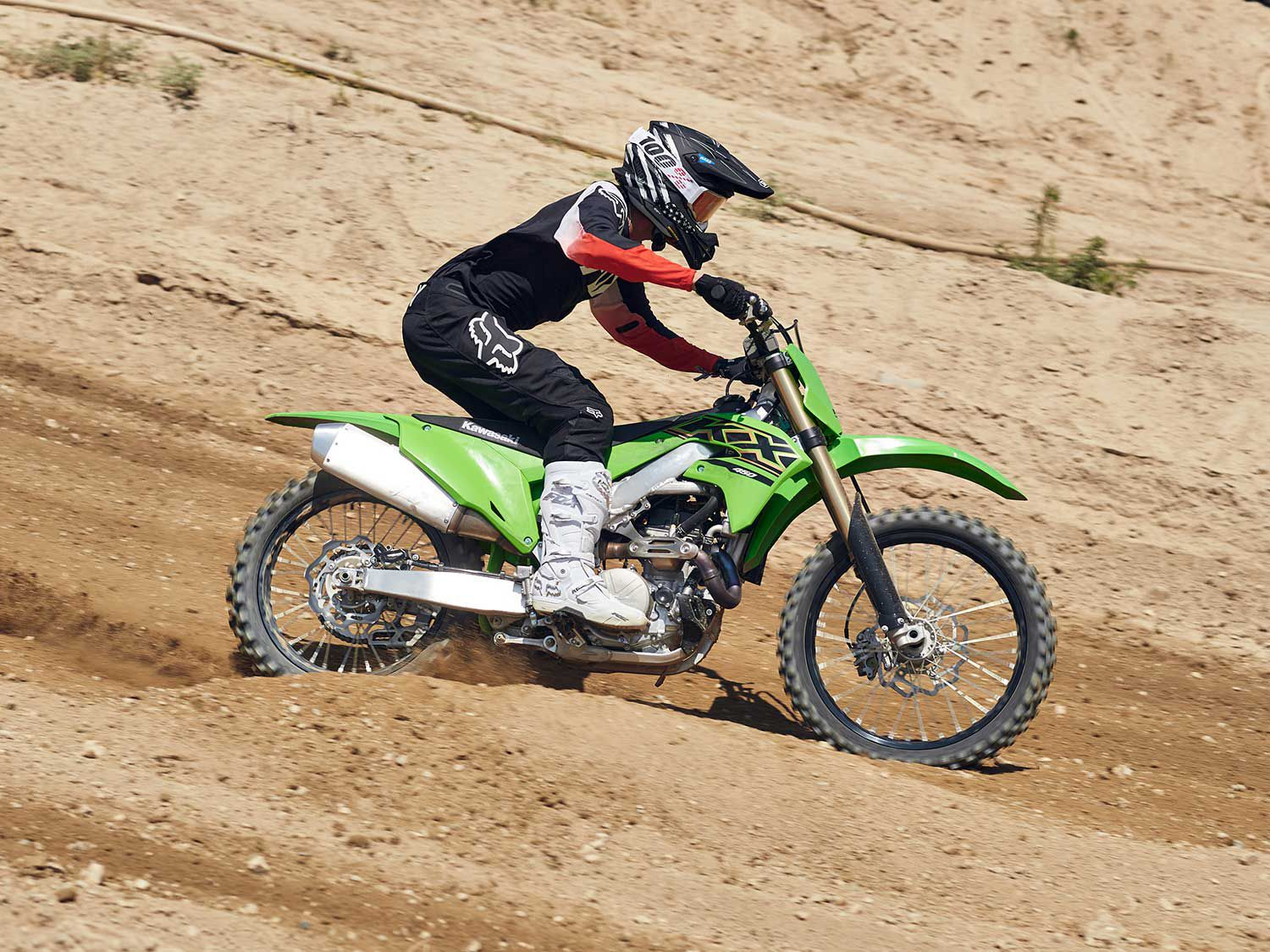 One of our few complaints about the current generation KX450 is its 250mm rear brake rotor. It's a bit touchy and makes it too easy to lock up the rear brake at times.