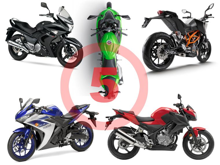 Five motorcycles