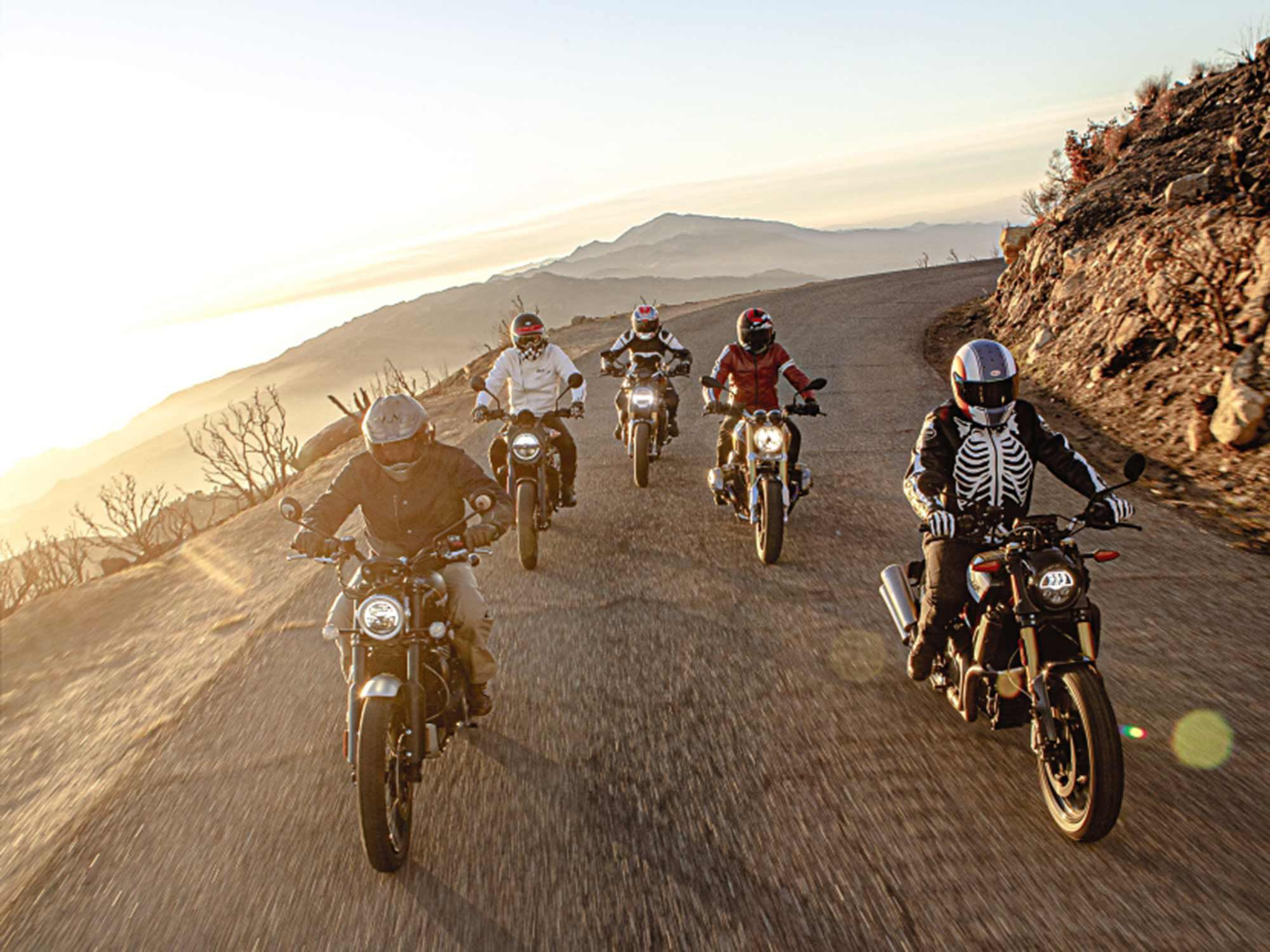 Chasing fun, spirit, and freedom on five motorcycles that recall the essence of riding.