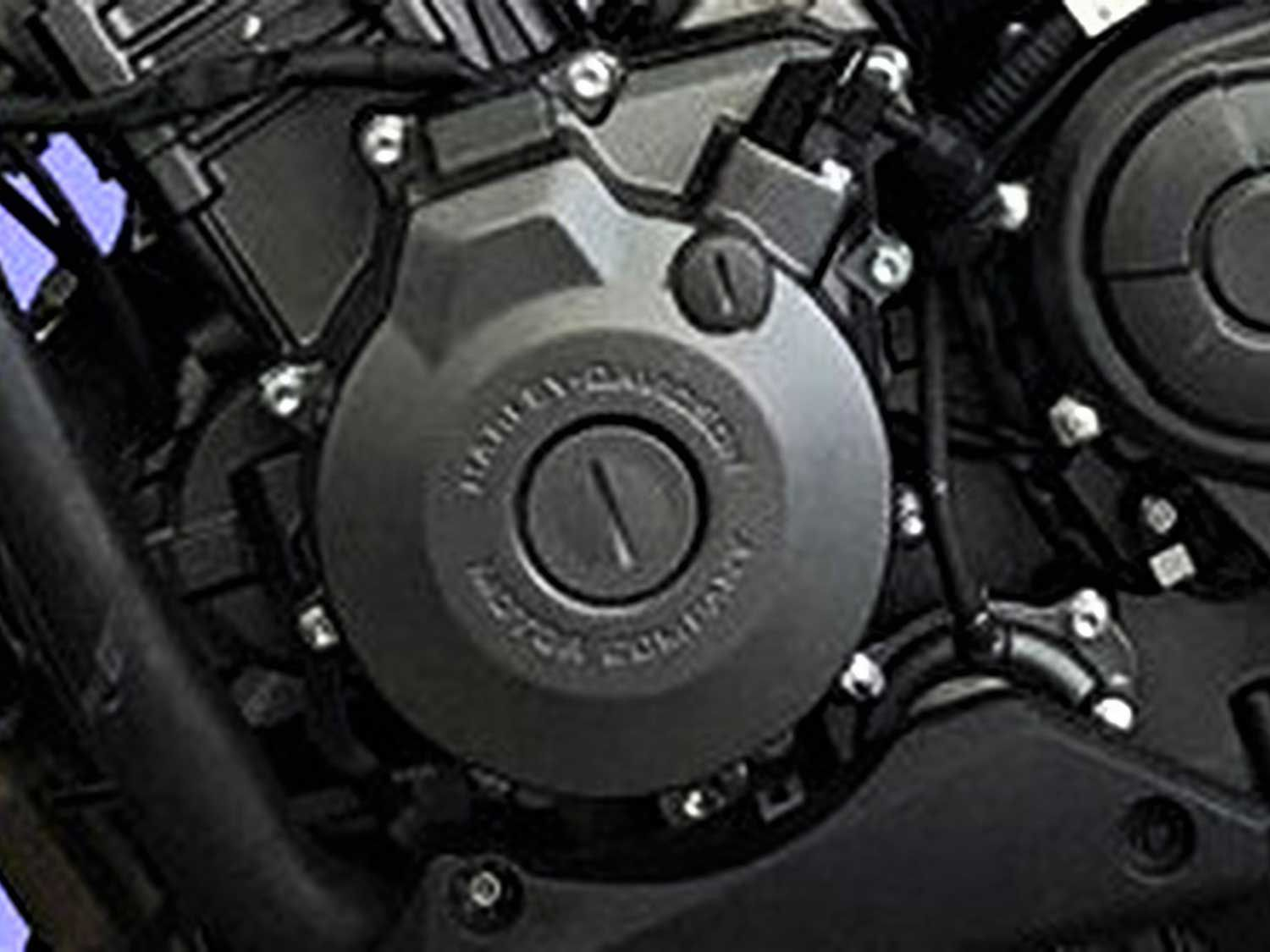 Squint enough and you'll make out the Harley-Davidson stamp on the left engine cover of the QJMotor-branded bike.