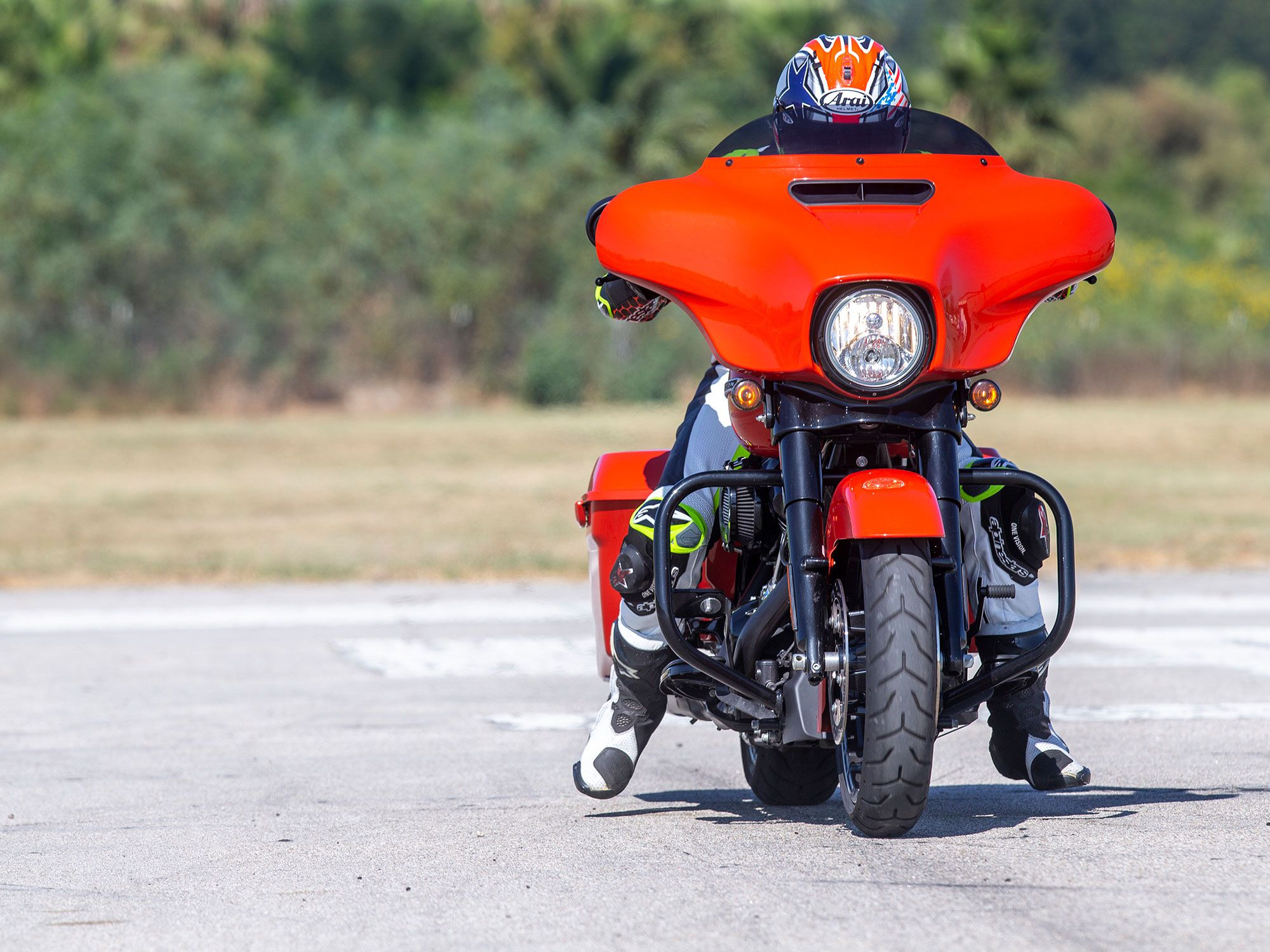 We took the 114-equipped Street Glide to our testing grounds to get base numbers in acceleration and brake testing.