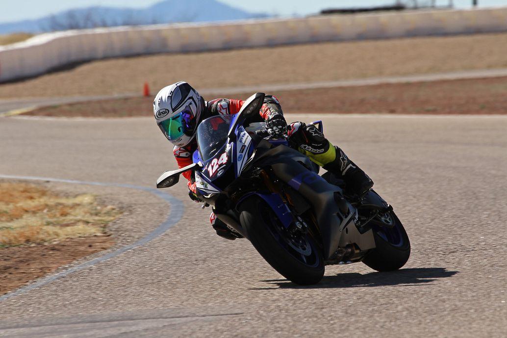 Mark Thompson riding R6 into corner.