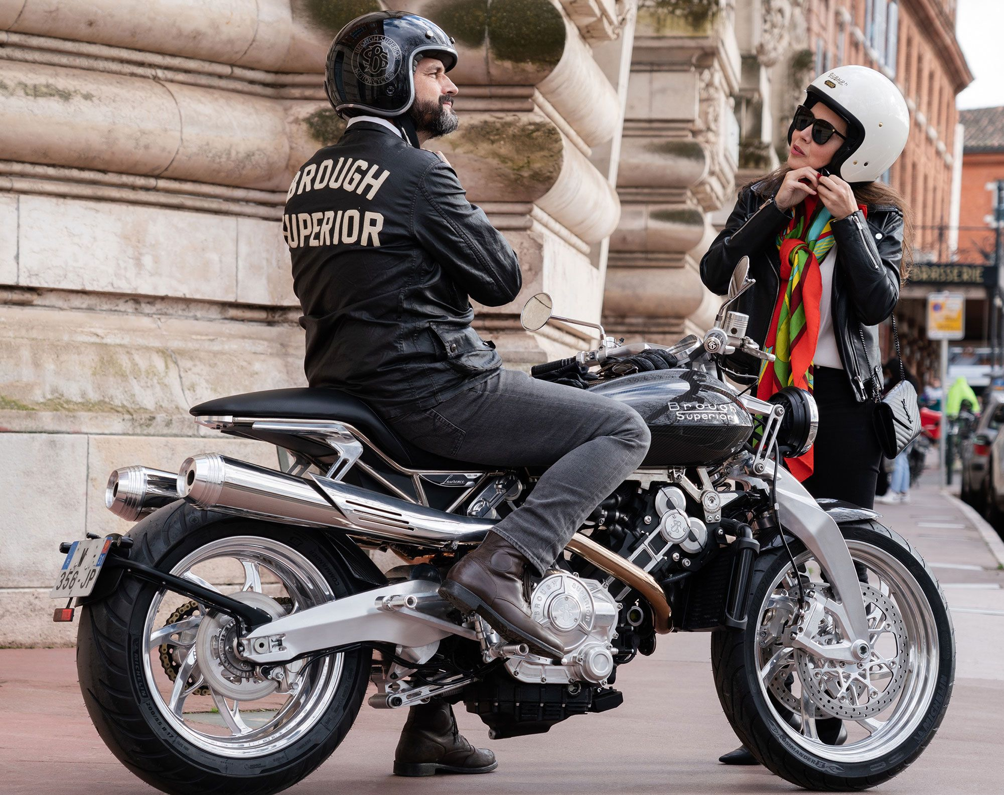 The rider - who some say looks like a French version of Ted Cruz - attempts to convince his unsuspecting lady friend that the brief pillion might actually be comfortable.