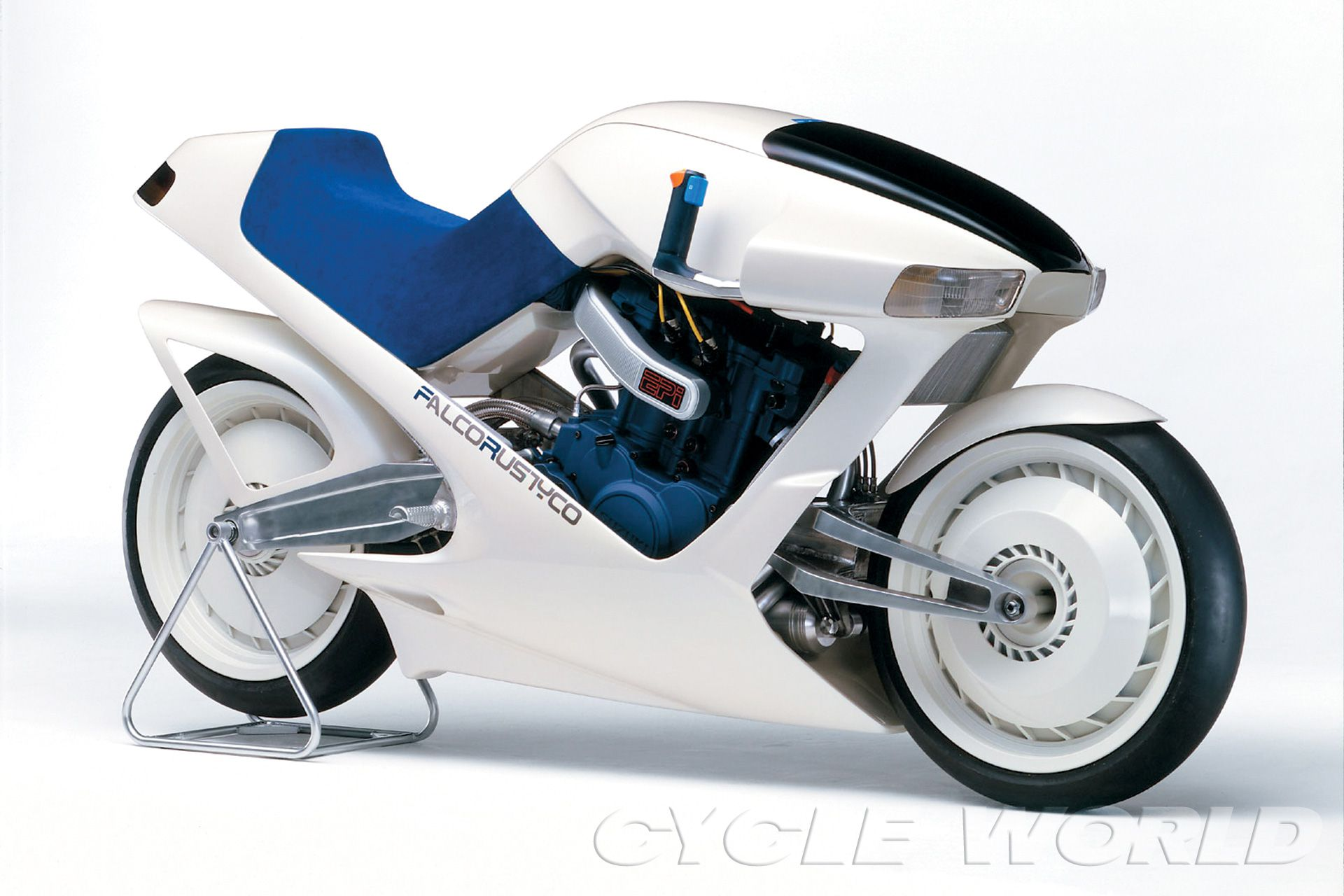 The Suzuki Falcorustyco concept bike of 1985 with square-four engine and center-hub steering.