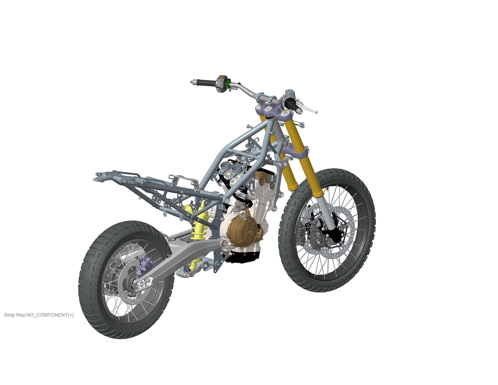 A steel frame holds the Tuareg's engine with six mounting points.