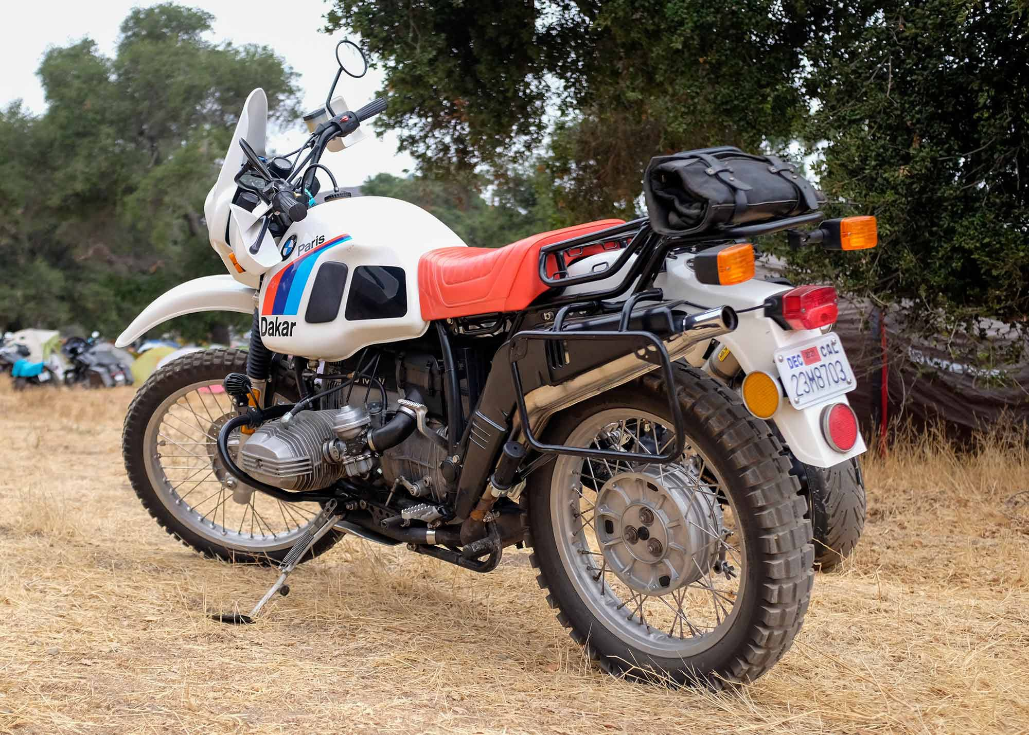Although most riders arrive on modern machines, this prime example of a BMW R80 G/S Paris Dakar stole the show.