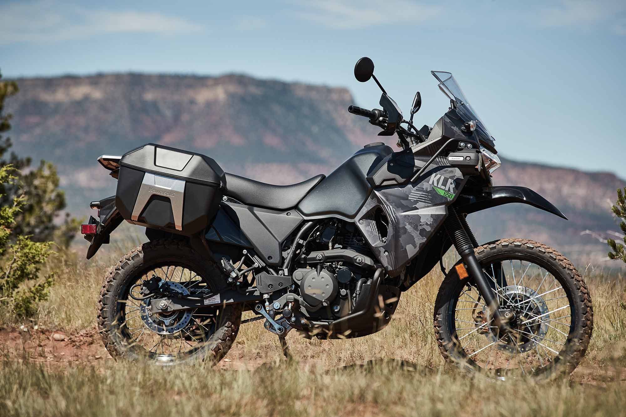 Our 2022 KLR650 test unit is the Adventure model without ABS.