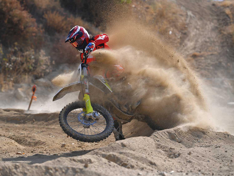 Riding the 2021 Husqvarna FC 350 at Glen Helen Raceway in San Bernardino, California.