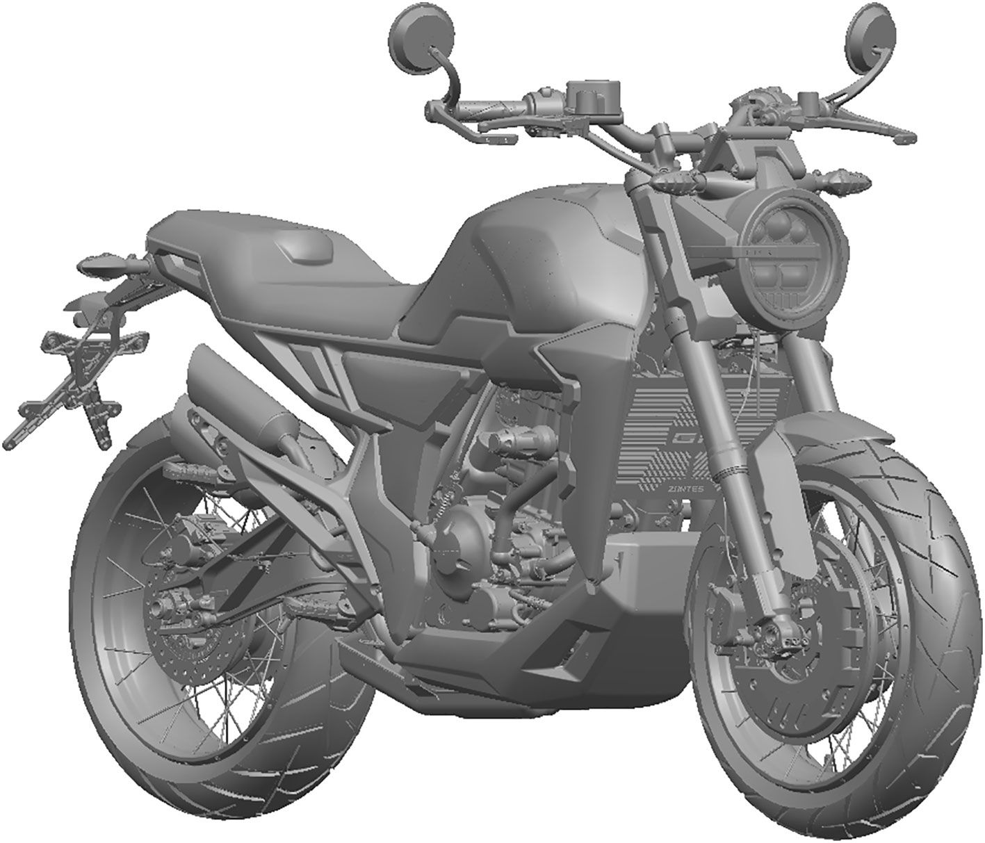 The new 350cc single keeps several elements from earlier Zontes 310 models, but integrates newer shapes, like the circular headlight, as well.