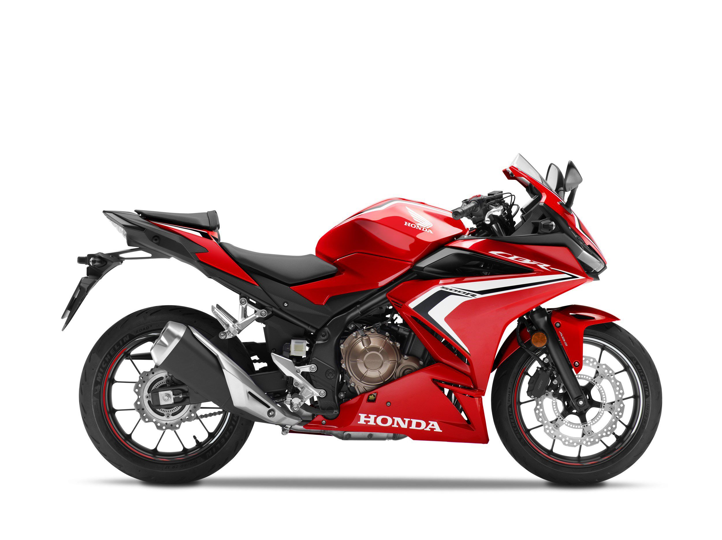 All three models, including the CBR500R (shown is 2021 model)  will be getting an additional brake disc up front; the R may get wider handlebars as well.