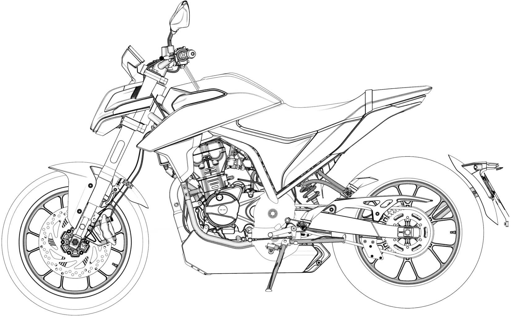 The new patents show a production version using much of the same styling, including the unique wraparound headlight and tank design.