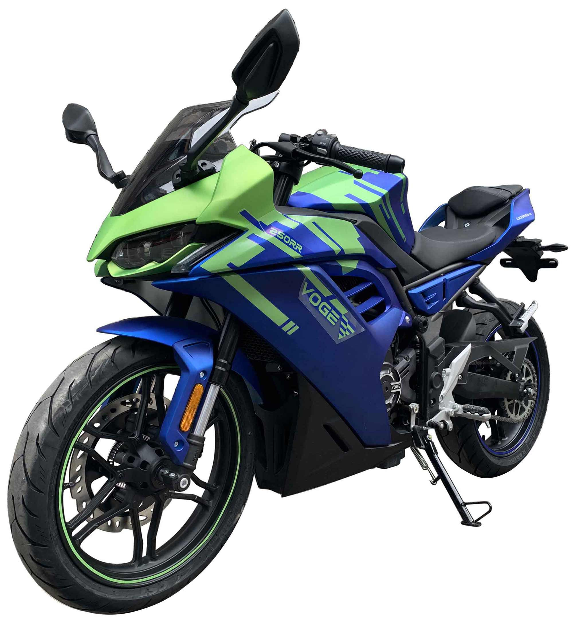 The smaller 250RR brings a single-cylinder engine, a full fairing, and styling inspired by the latest superbikes.