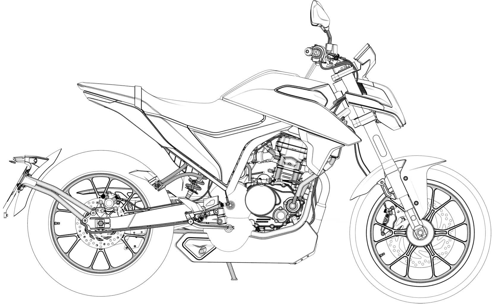 Fork and swingarm remain the same, and a TFT dash is retained as well.