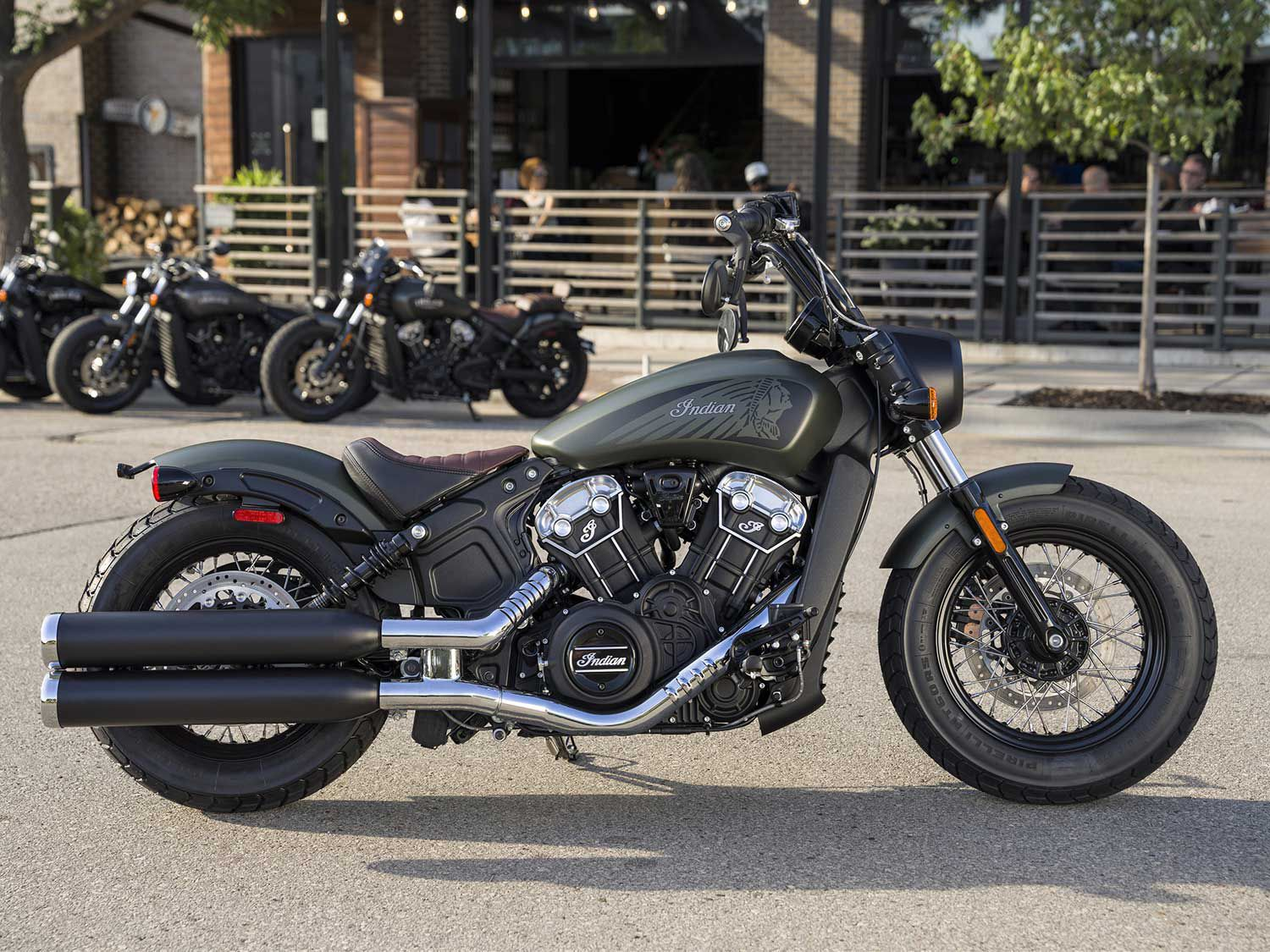 The Scout series is back mostly unchanged; here's the Scout Bobber Twenty wearing its new Sagebrush Smoke colorway for 2021. MSRP starts at $11,999; here, it's $13,399 (with ABS).