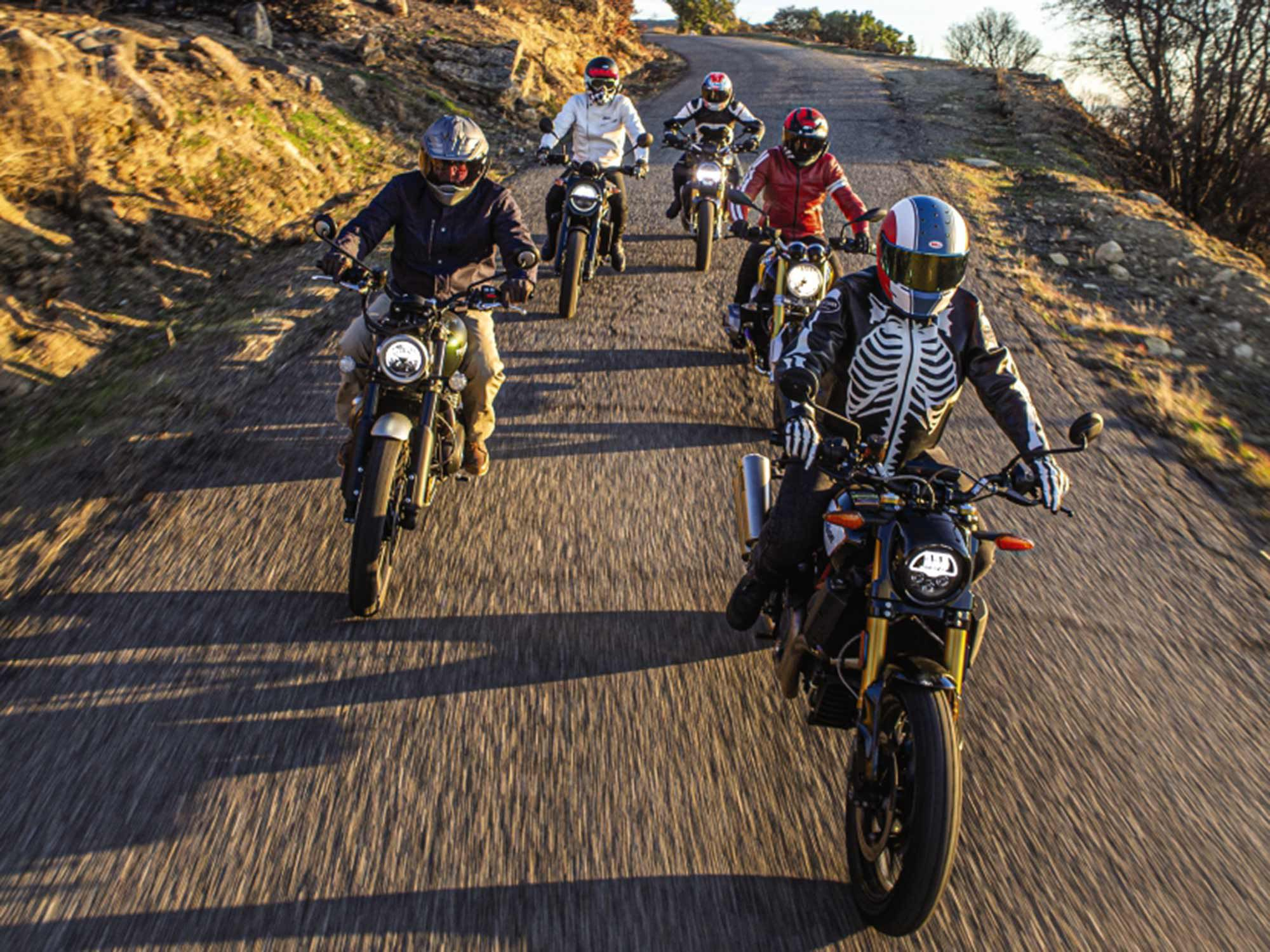 """Senior Editor Justin Dawes—decked out in his Vanson """"Bones"""" leathers—leads the pack."""