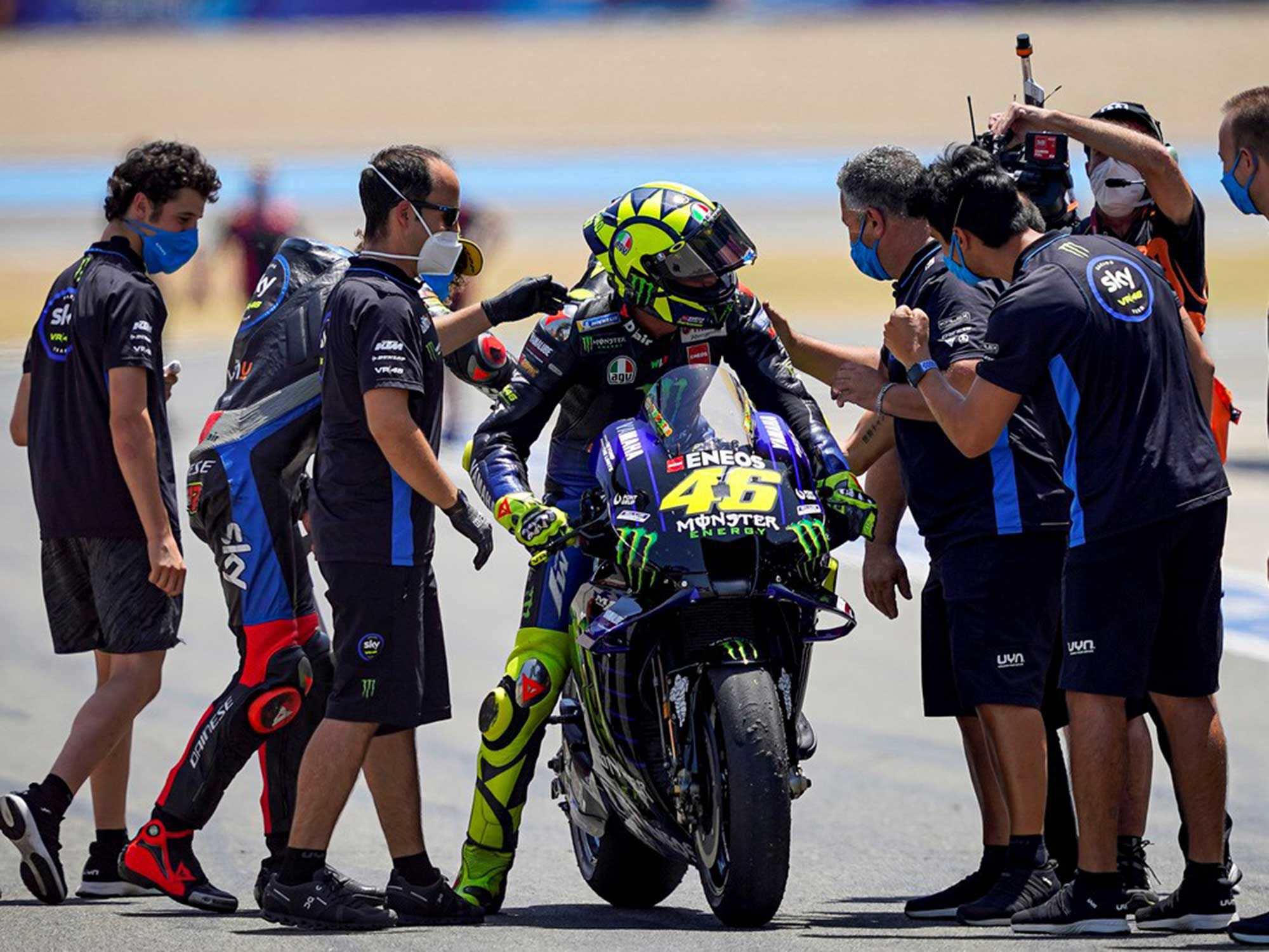 Rossi credits his Sky Racing Team VR46 Moto2 and Moto3 racers for keeping him young at practices. They also had a successful day on the Jerez track.