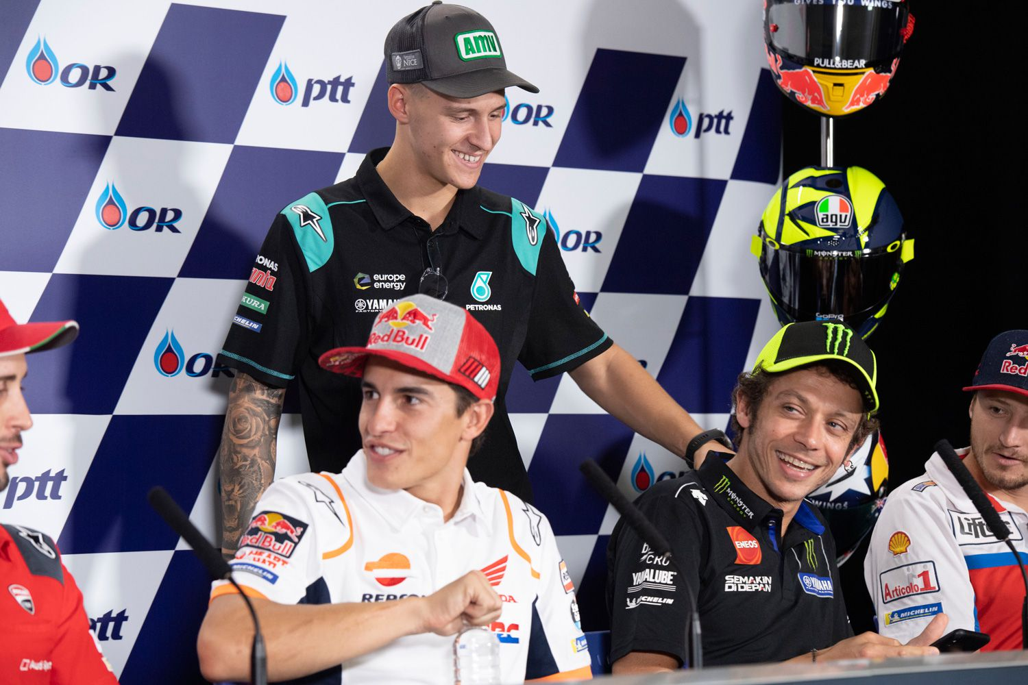 Quartararo with his idol, Valentino Rossi, and championship rival, Marc Márquez—17 world championship titles between them.