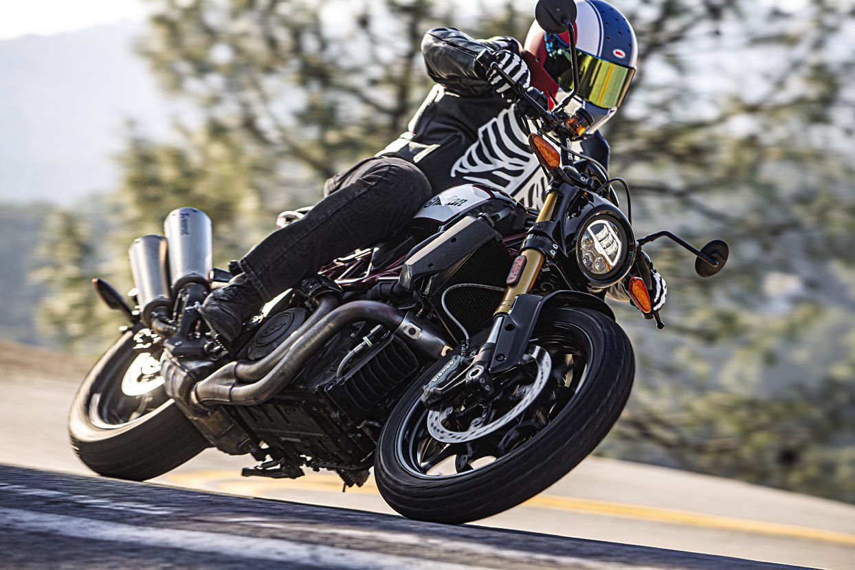 The FTR 1200 S is rowdy and unapologetic. Bones leathers are a perfect match.