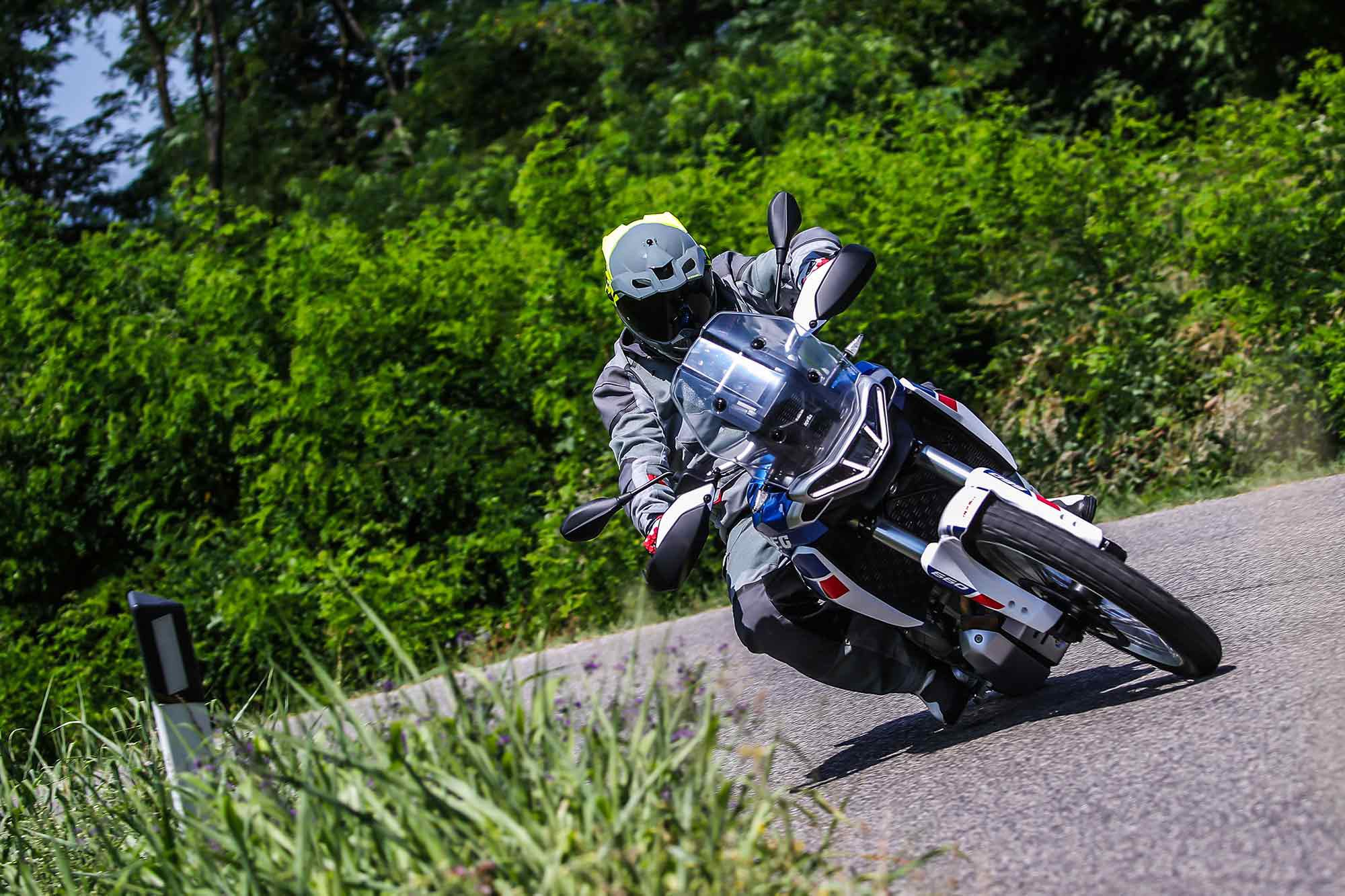 Cornering on the Tuareg 660 is much better than a 21-inch front wheel would suggest.