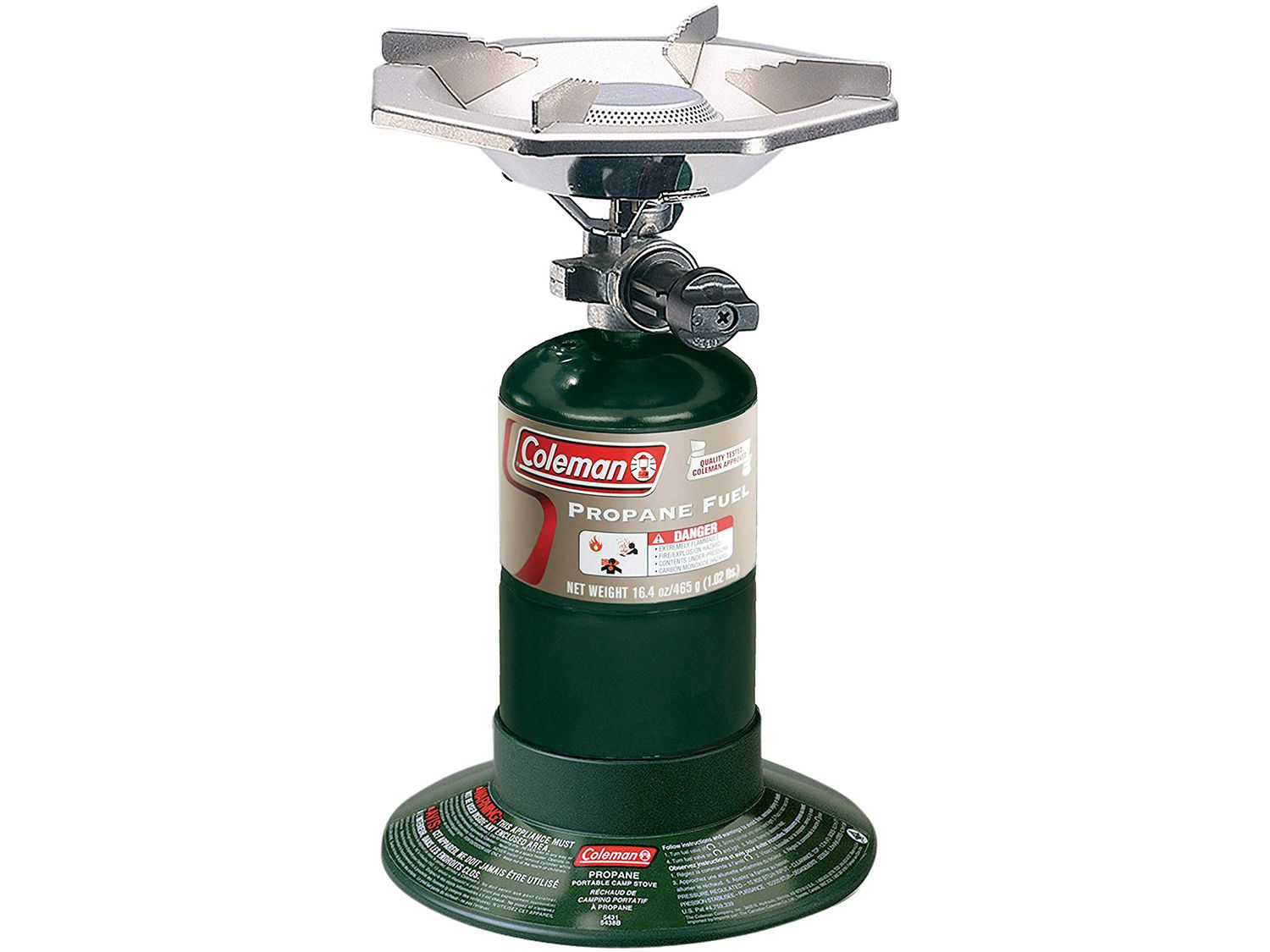 Producing up to 10,000 BTUs, this Coleman portable gas stove packs tightly and can run up to 2-1/2 hours on a 16.4-ounce propane bottle.