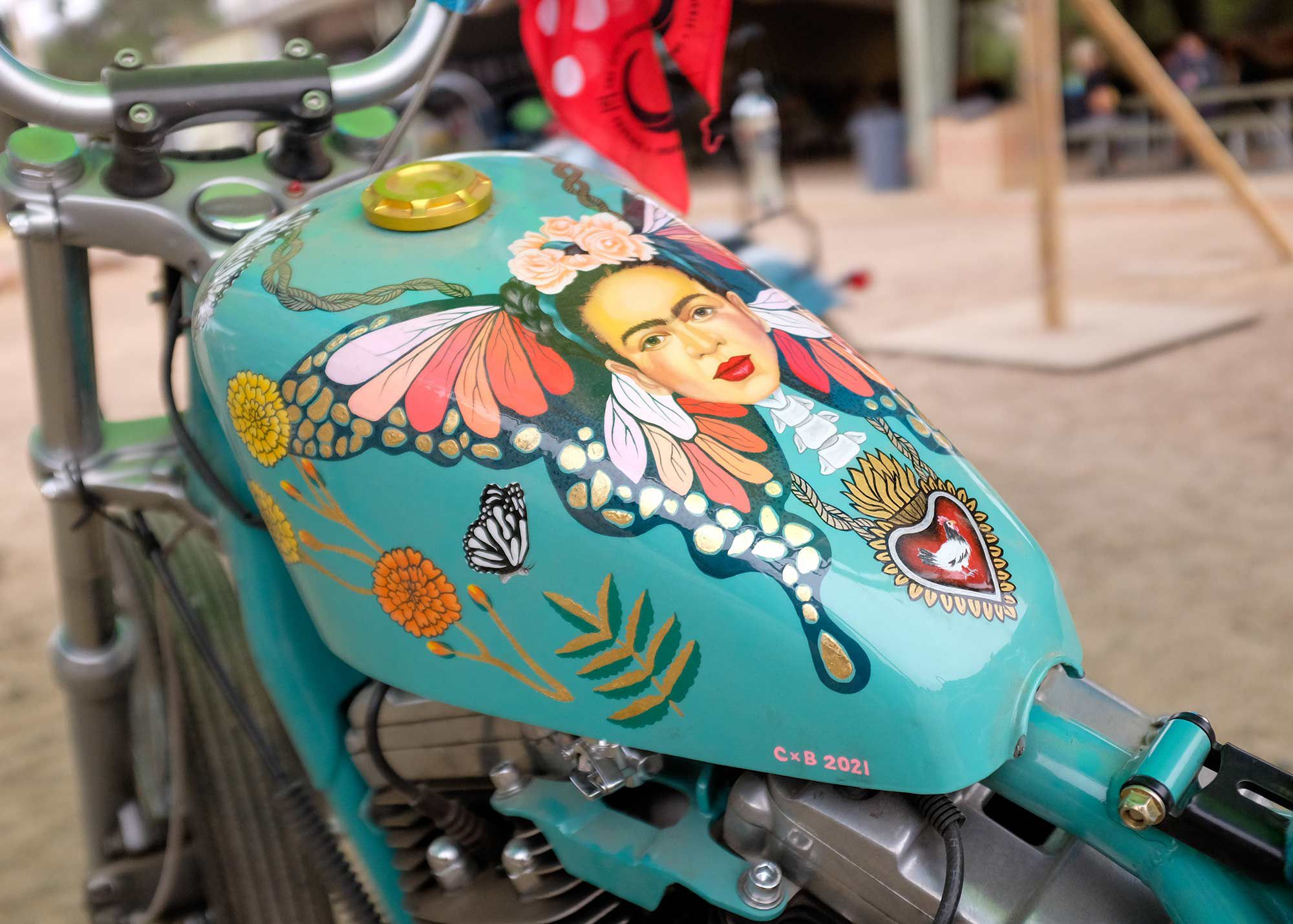 """""""Frida Bike 2021"""" painted by Nicole Andrijauskas (@chicken_in_a_biscuit) and entered into the Real Deal Bike Show at BRO."""