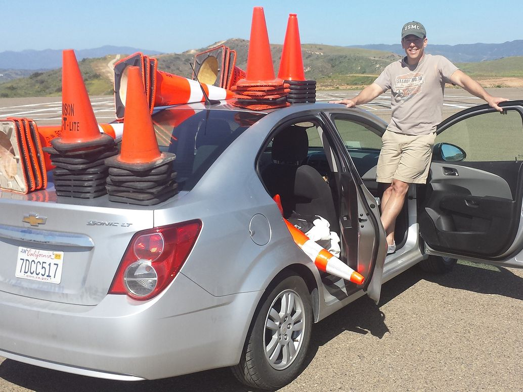 Thompson with safety cones