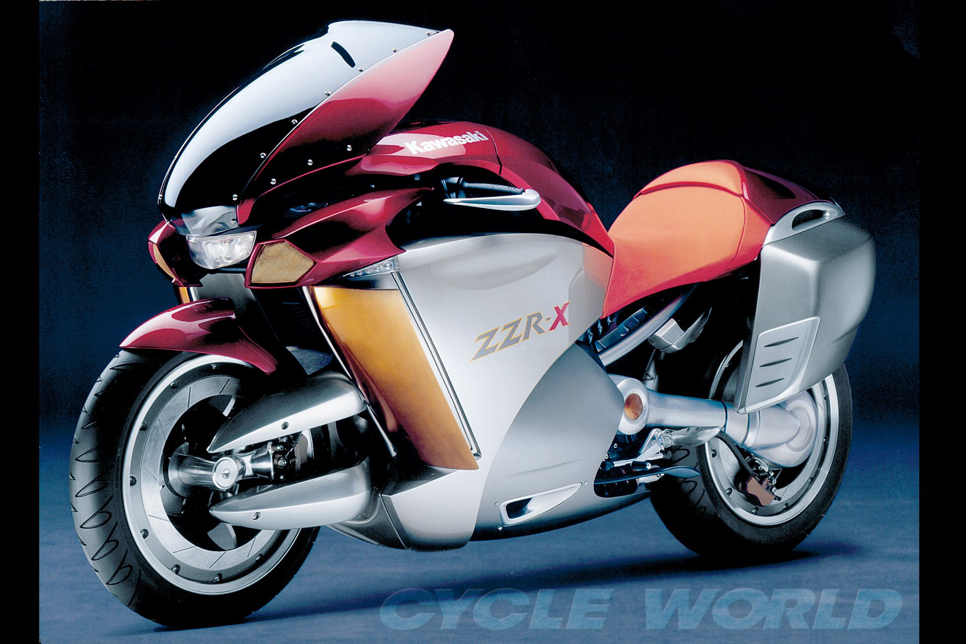 Kawasaki got in the center-hub & adjustable-ergonomics game with its sleek 2004 ZZR-X concept.