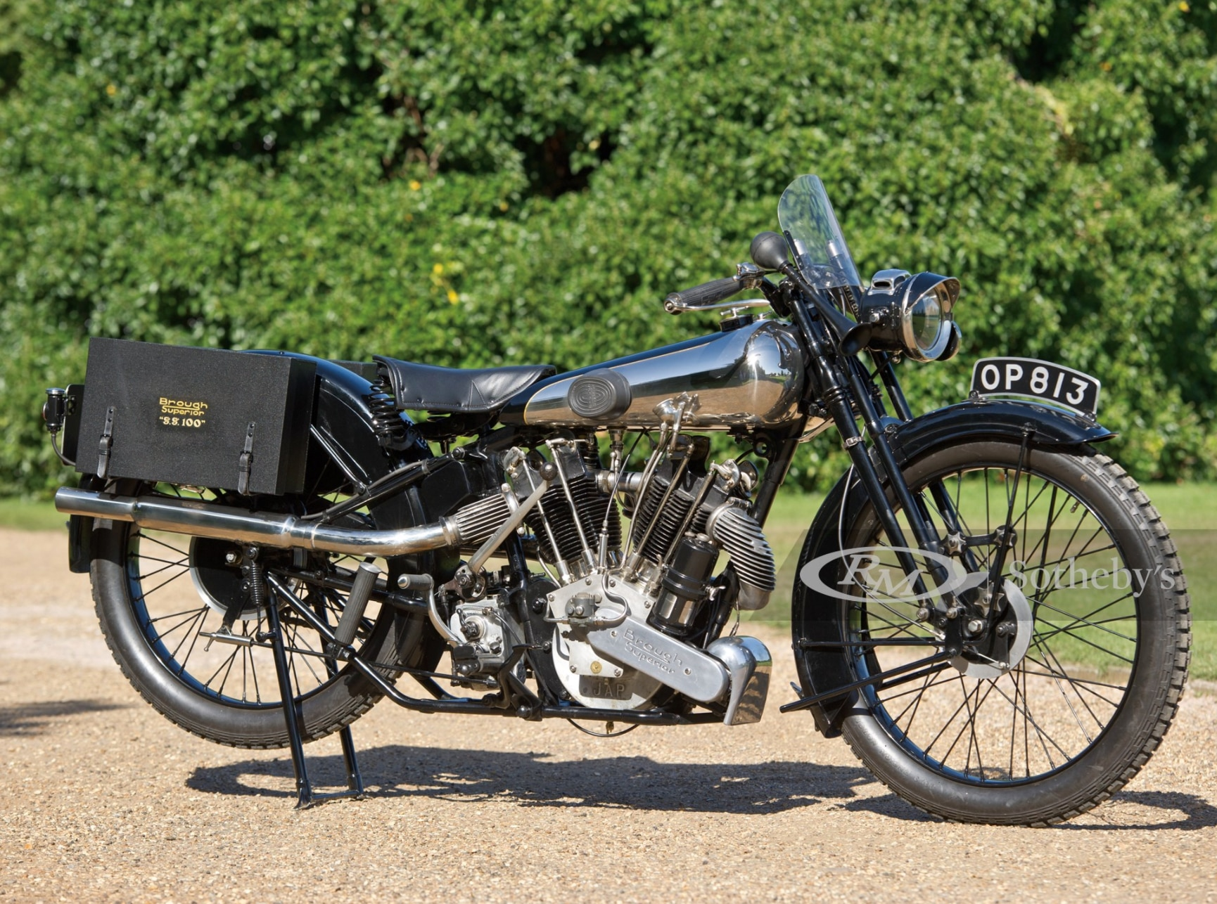 Affordable in an elite group, this first-generation 1926 Brough SS100 sold for $453,000.
