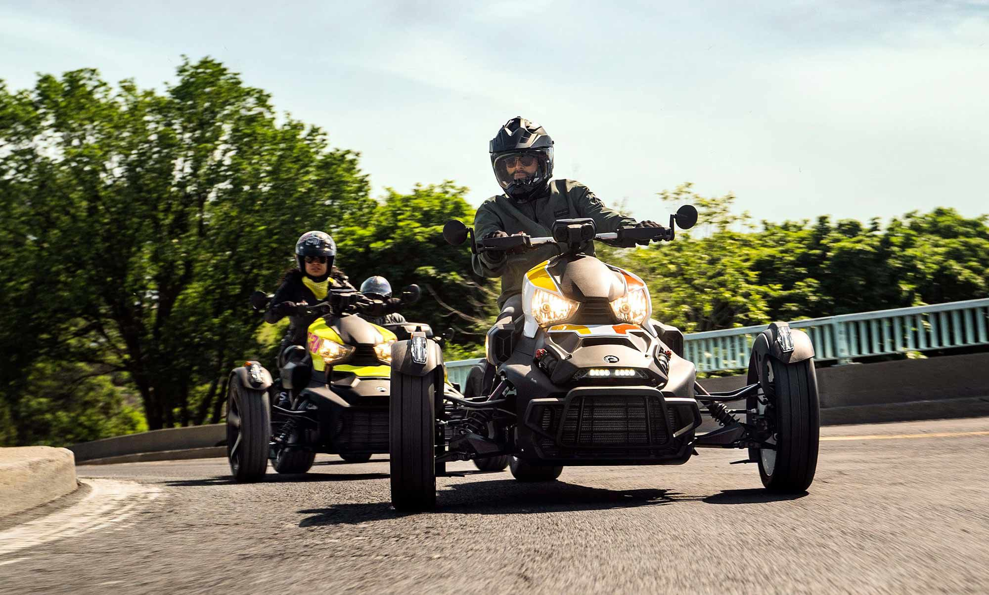 The Ryker Rally leads the charge for Can-Am's 2022 on-road lineup with a host of new upgrades including longer-travel suspension and more ground clearance.