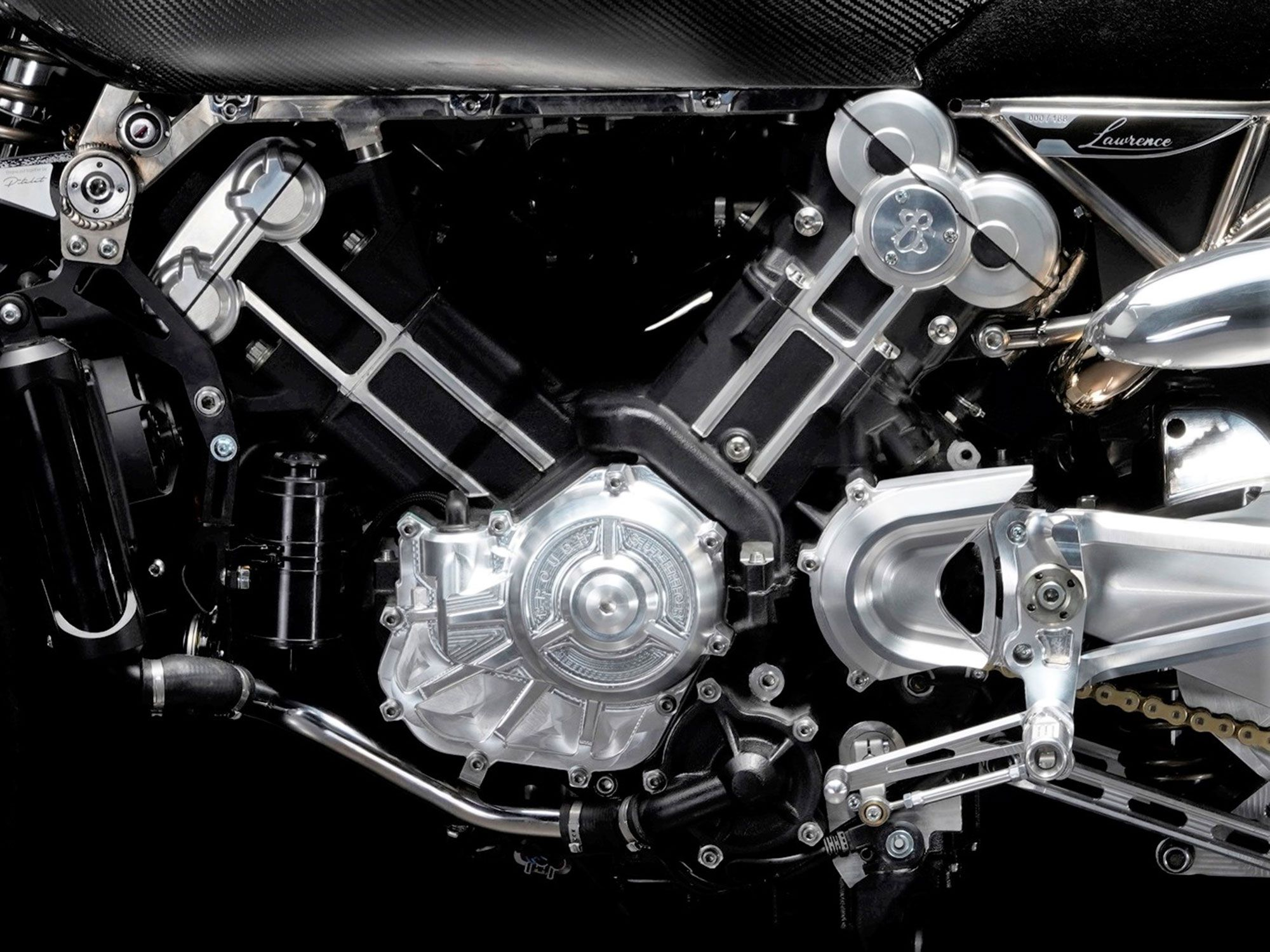 The Lawrence is powered by Brough's in-house water-cooled, 997cc, eight-valve V-twin, claimed to output 102 hp.