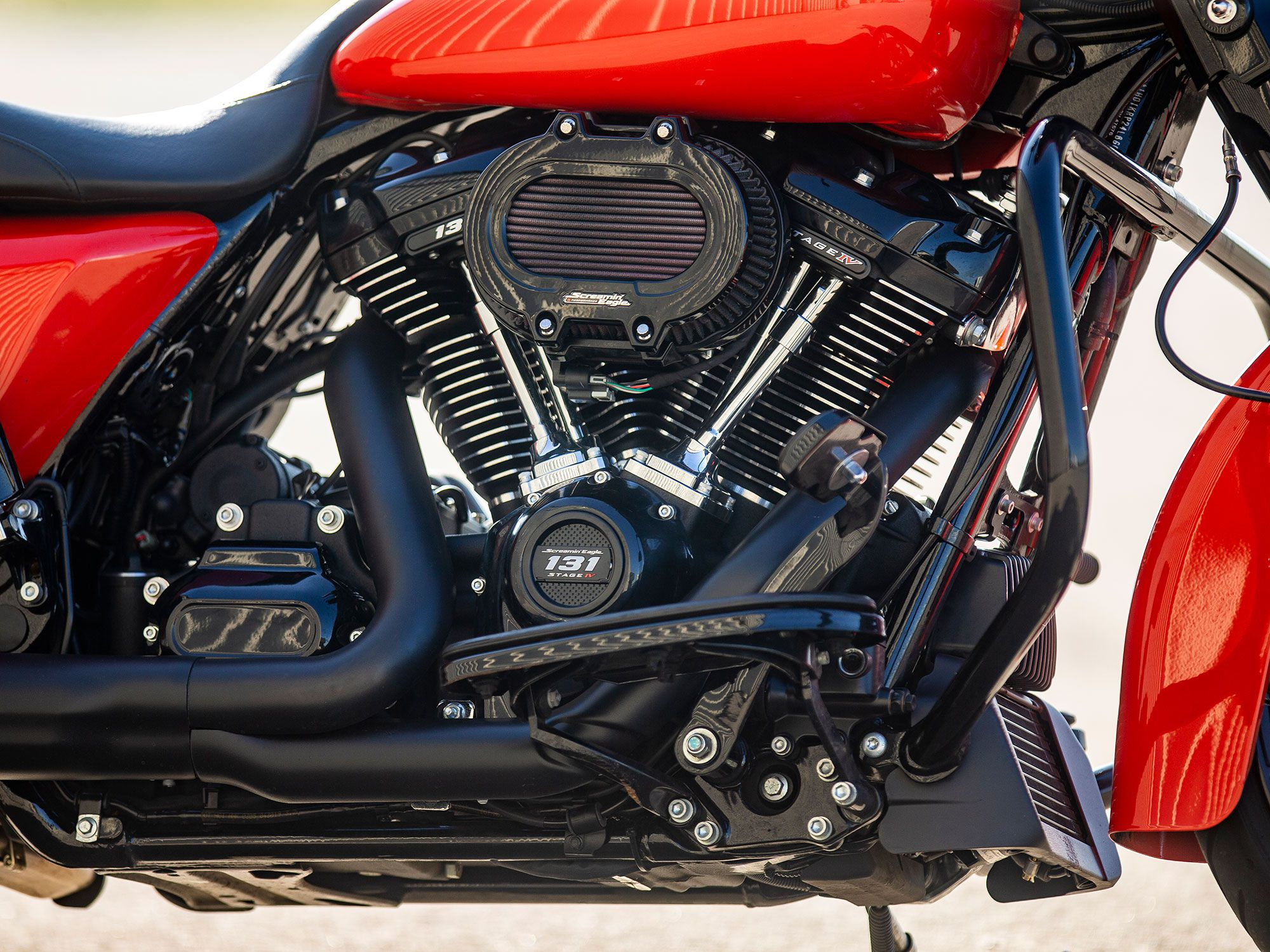 After we tested the Milwaukee-Eight 114, the Screamin' Eagle 131 crate engine was installed.