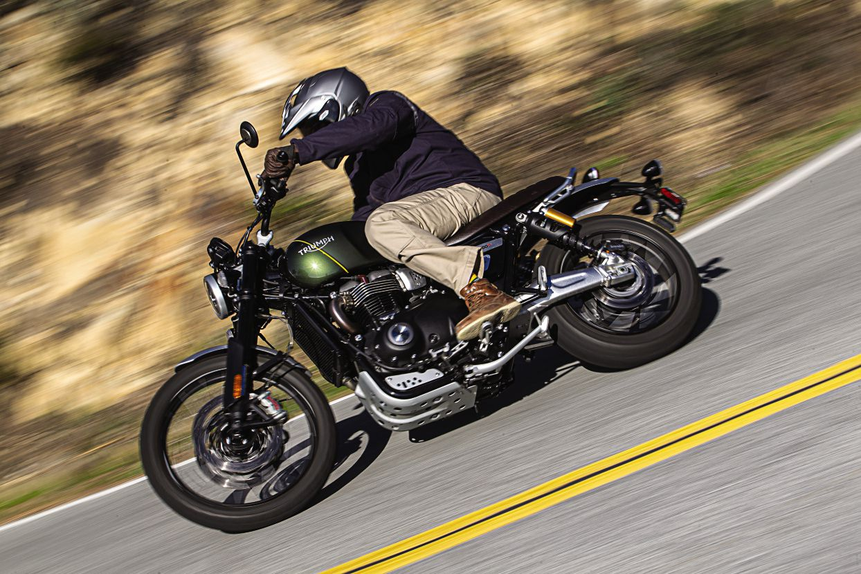 The Triumph Scrambler 1200 XC is a fun and competent road bike, and also pretty capable on dirt.
