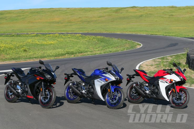 2015 Yamaha YZF-R3 group side-by-side static