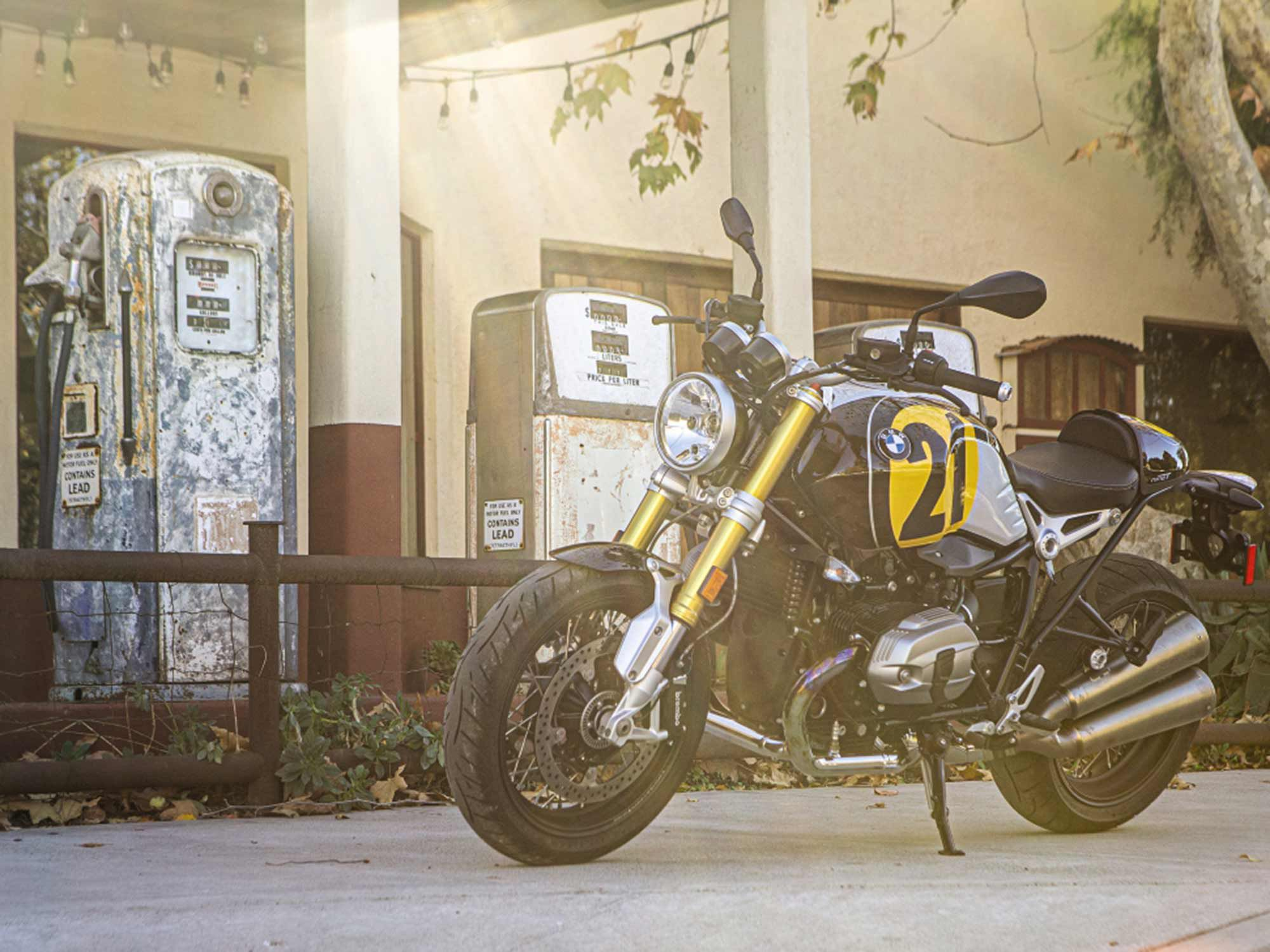 BMW R nineT, heritage, with an adjustable fork. Exhaust note is expertly tuned and soul stirring.