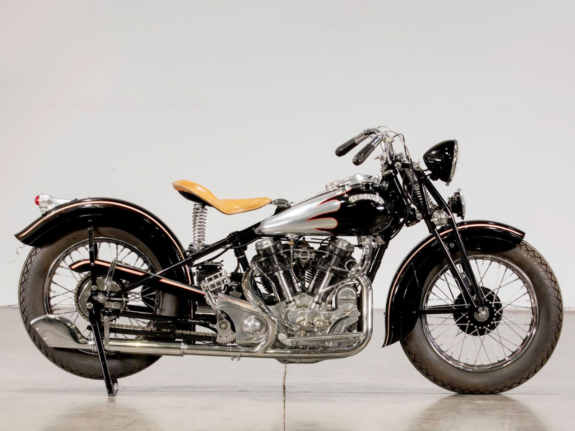 5. Bobber style from the factory, this 1939 Crocker's polished aluminum fuel tanks set the mood.