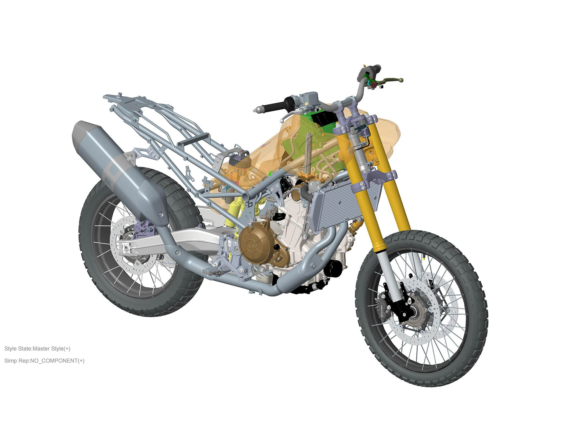 The Tuareg 660′s fuel tank holds 4.8 gallons and extends behind the engine to make space for the airbox.