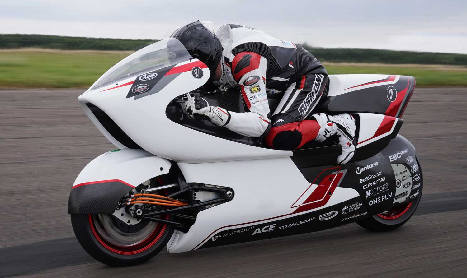 White Motorcycle Concepts' electric land speed racer has completed its initial round of testing to check working systems, and is hitting its speed targets.