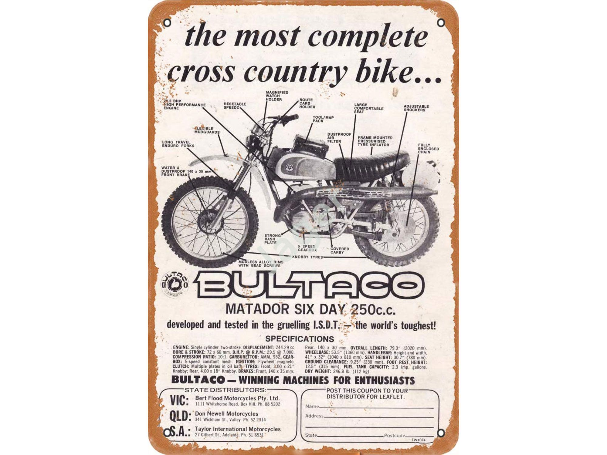 Bultaco saw the possibilities of placing a lightweight engine in a minimal package to appeal to the off-road crowd.