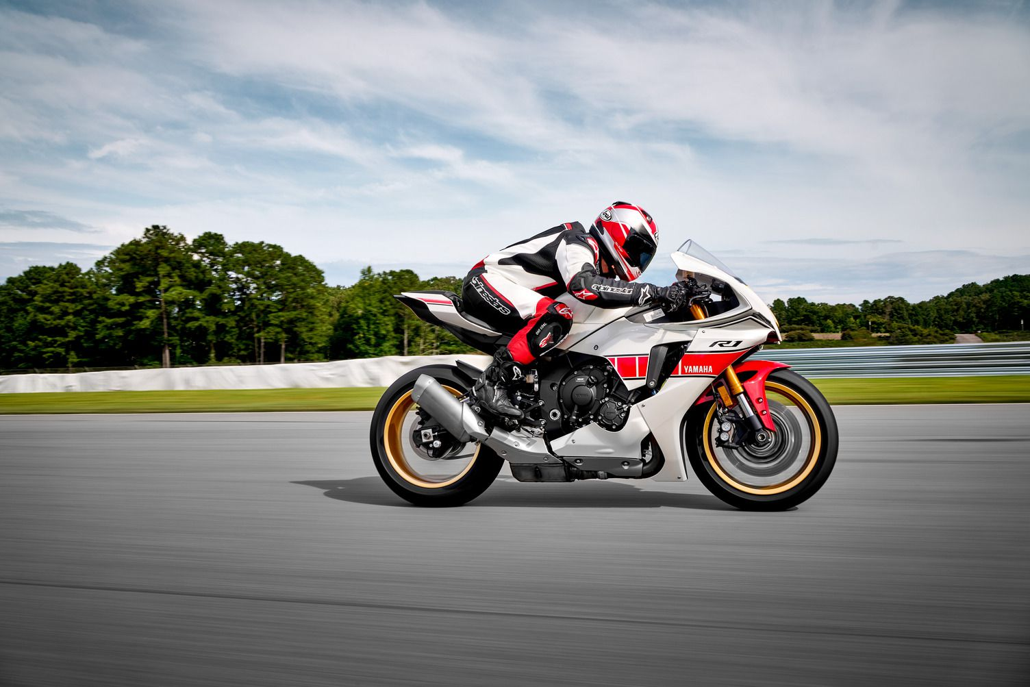 The YZF-R1 in the special-edition trim, which also includes gold wheels and fork and ID badging.
