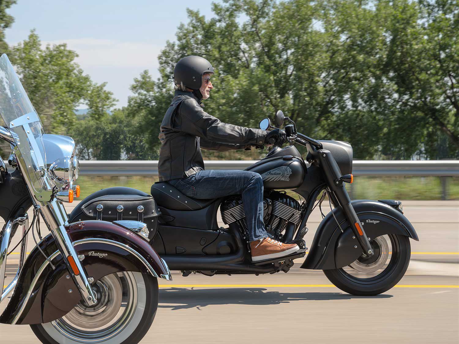 Indian has announced its models for 2021, with the new Vintage Dark Horse leading the charge. The regular Vintage model is to the left.
