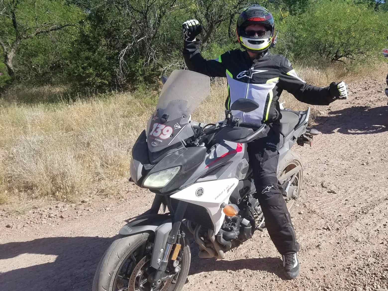 """Limore Shur said, """"Hey, why don't you guys get some low-traction onboard shots."""" That's all we needed to hear; Keith Culver seen here after an epic two-hour dirt ride on YCRS streetbikes; only one radiator pierced and one head pipe collapsed."""