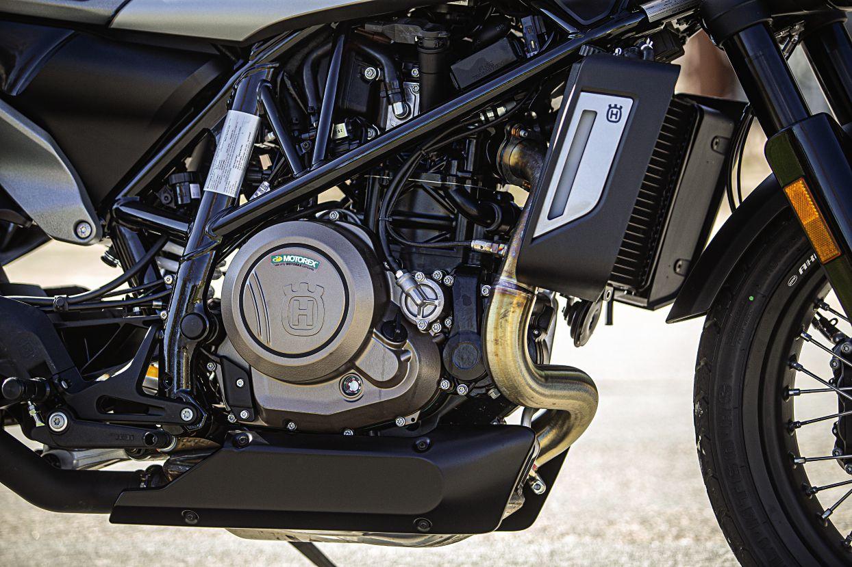 "Husky Svartpilen (means ""black arrow"") runs a counterbalanced 693cc single that helps the light bike perform like its bigger competitors here."