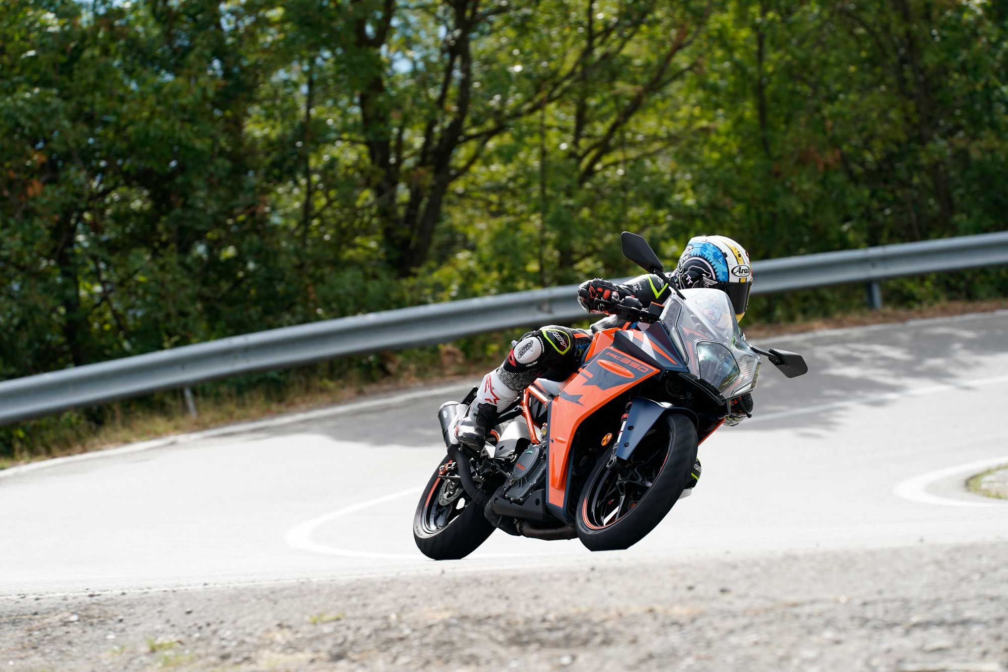 Despite a relatively sporty riding position, the RC 390 is surprisingly comfortable during a full day of riding.