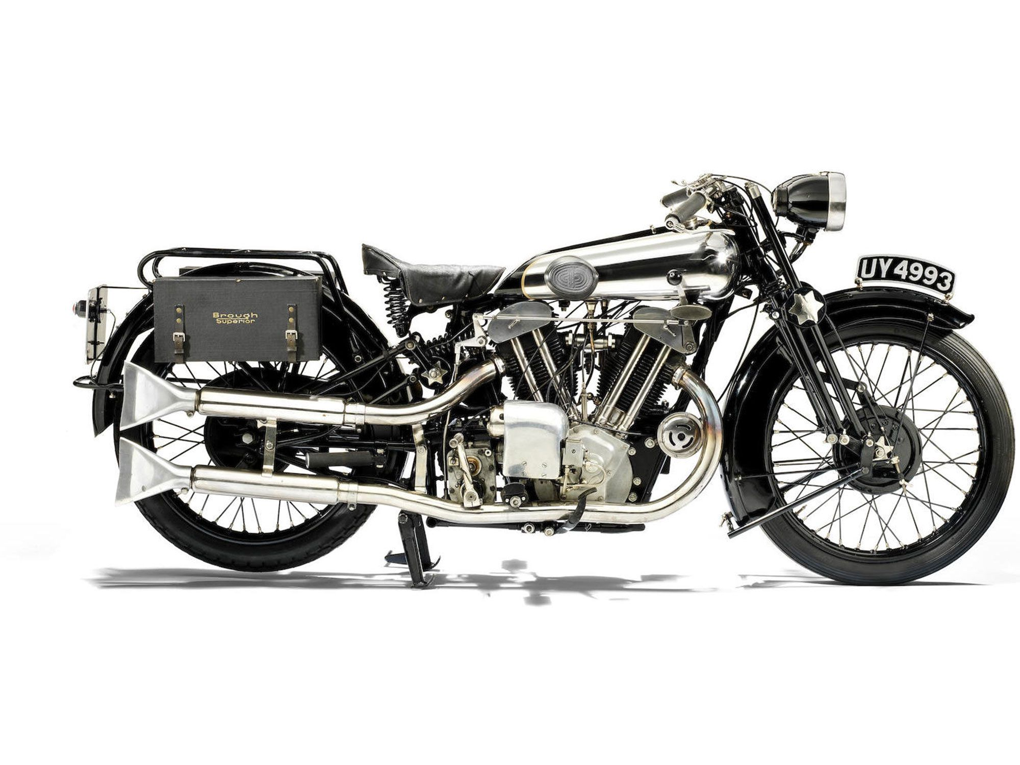 9. Brough enough? This 1929 SS100 with cool twin headlights guaranteed a 100-mph top speed.
