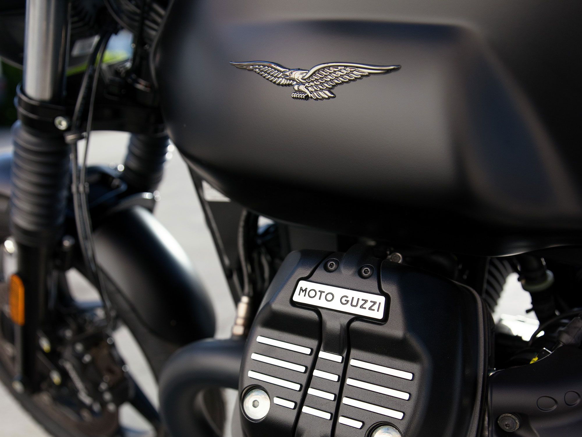"""In true """"Stone,"""" fashion, the base model V7 Stone comes only in matte black."""