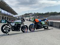 chris carr gpz on left carry andrew z1 on right at laguna seca racetrack