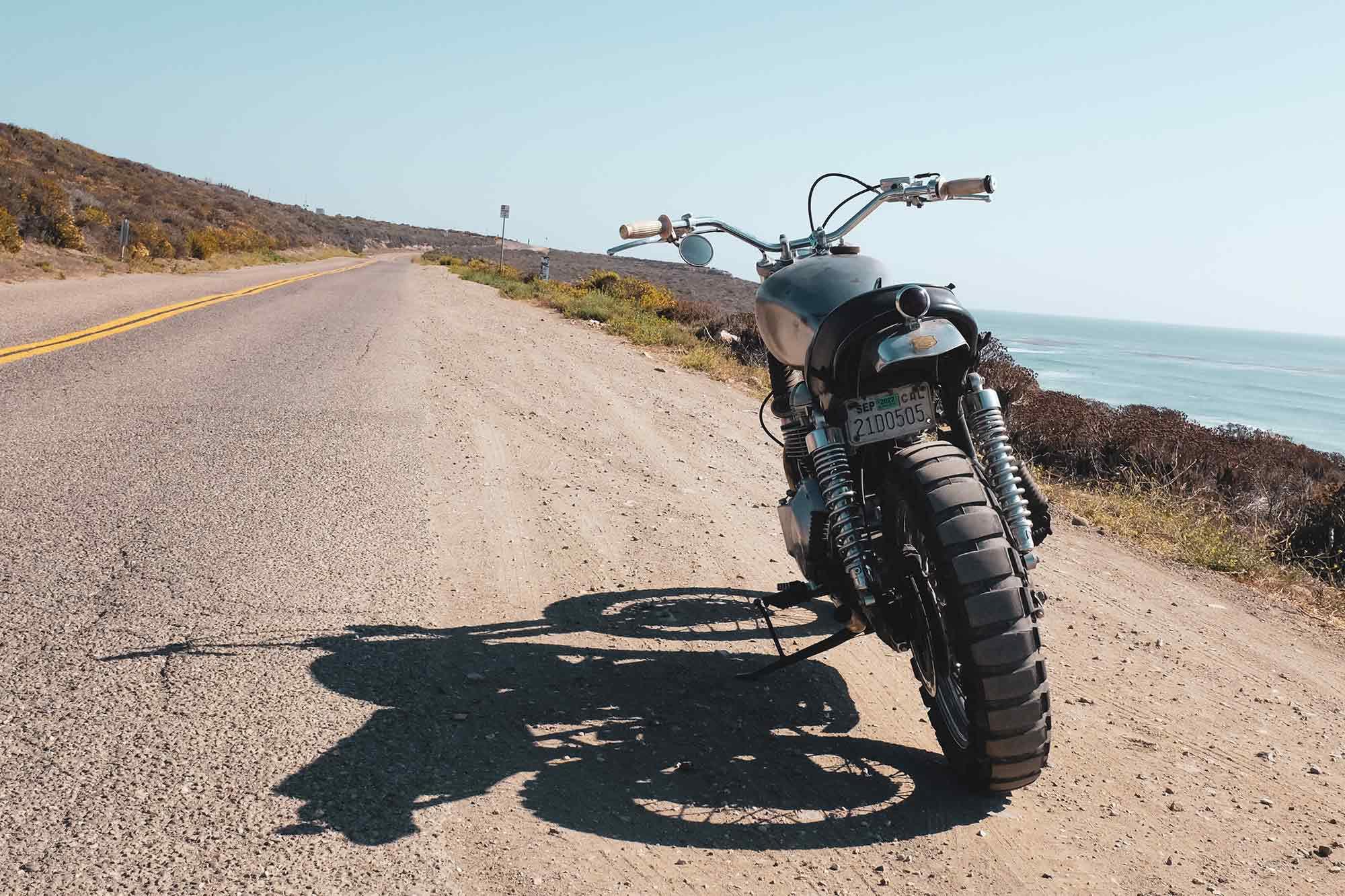 """El Trineo,"" the author's modern classic Triumph, at Jalama Beach."