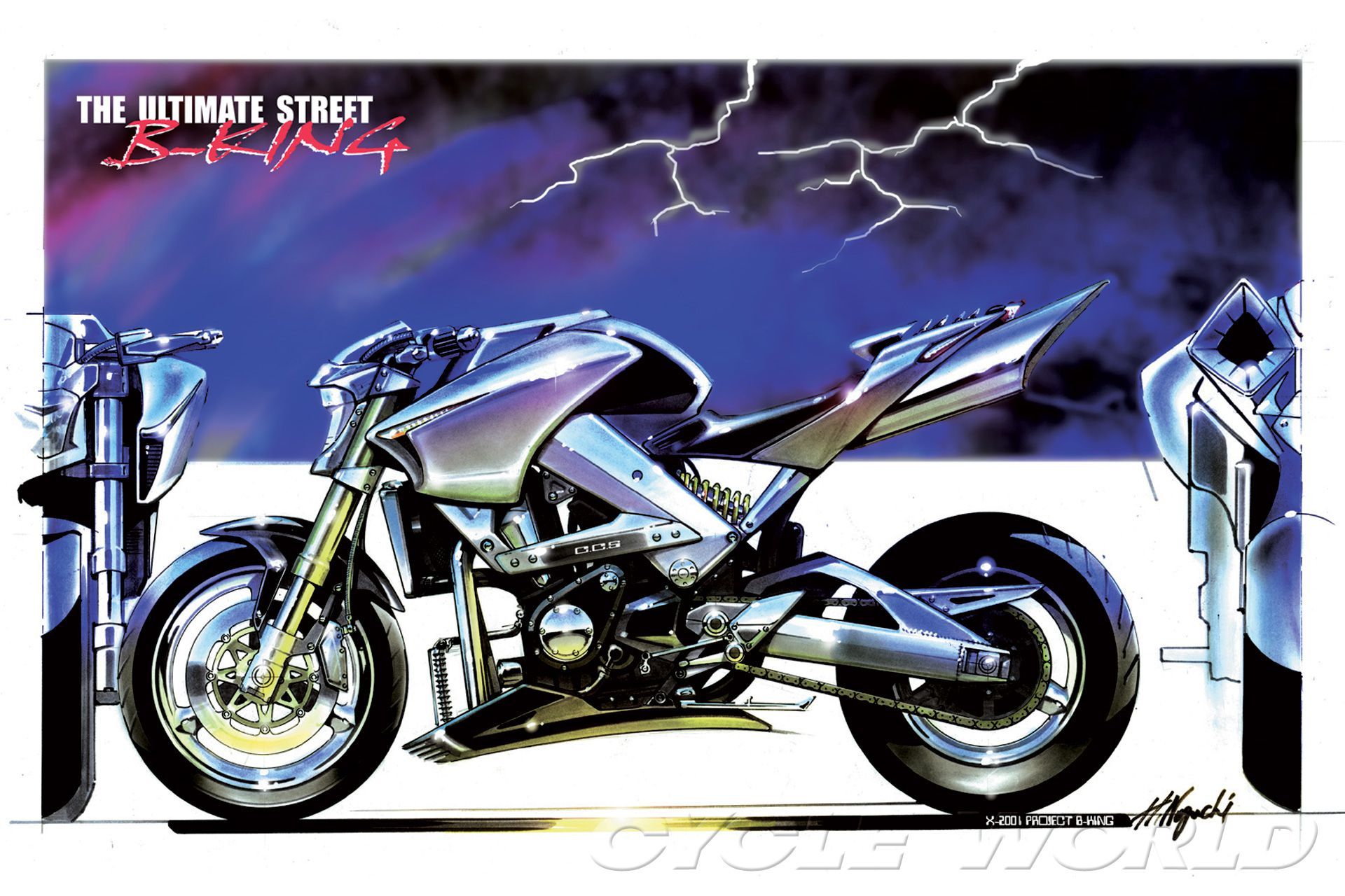 Easy to get crazy on paper? 2001 Suzuki B-King concept became production minus its supercharger.